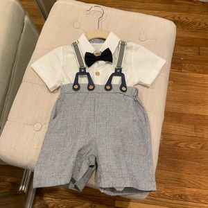 Boys shorts/button down outfit size 18 months
